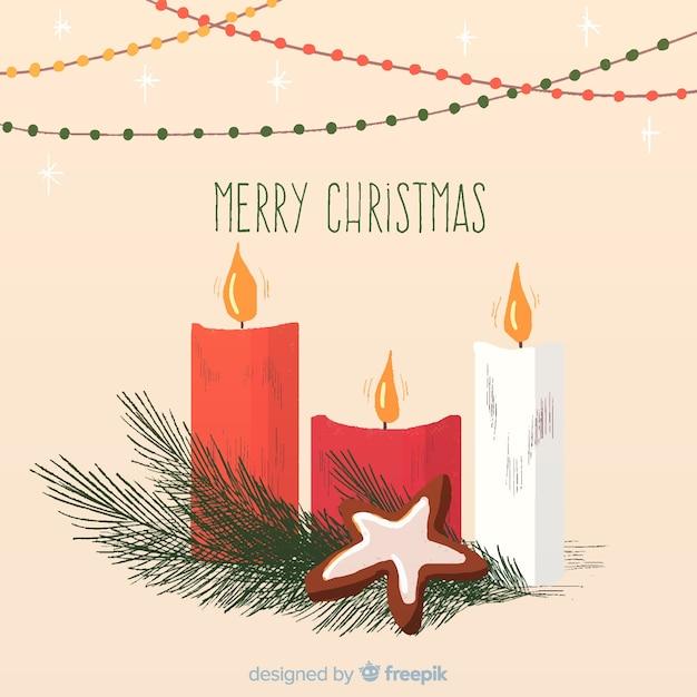 Fond De Bougies De Noël Vecteur gratuit