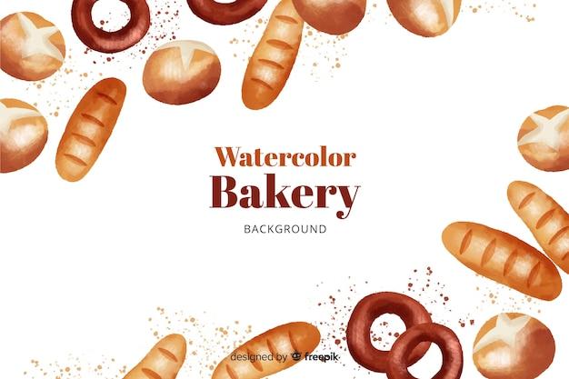 Fond de boulangerie aquarelle Vecteur gratuit
