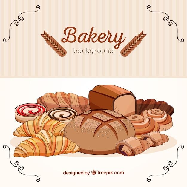 Fond de boulangerie au style dessiné à la main Vecteur gratuit