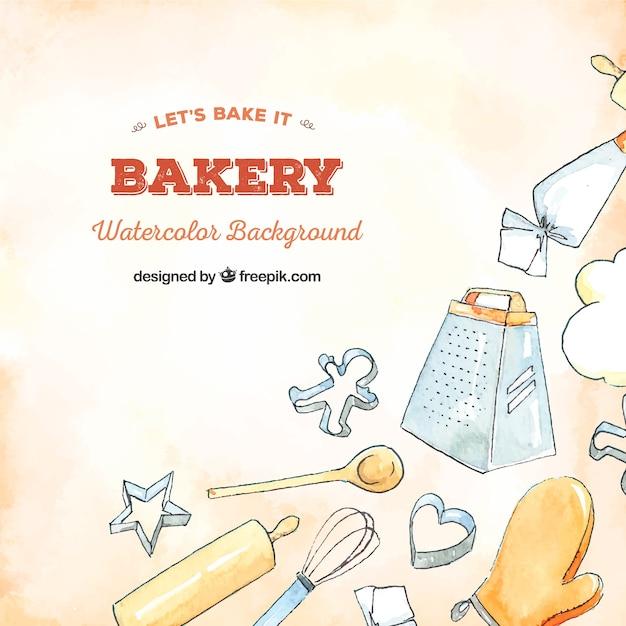 Fond de boulangerie dans un style aquarelle Vecteur gratuit