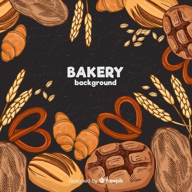 Fond de boulangerie dessiné à la main Vecteur gratuit