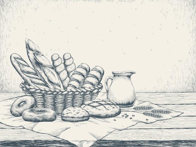 Fond De Boulangerie Exquis Dans Un Style Dessiné à La Main Vecteur Premium