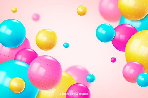 Fond de boules brillantes colorées réalistes Vecteur gratuit