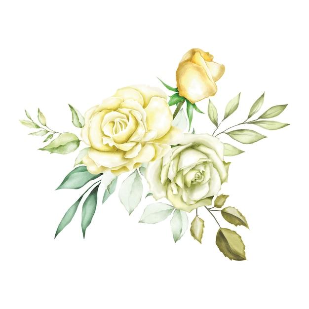 Fond de bouquet aquarelle rose Vecteur Premium