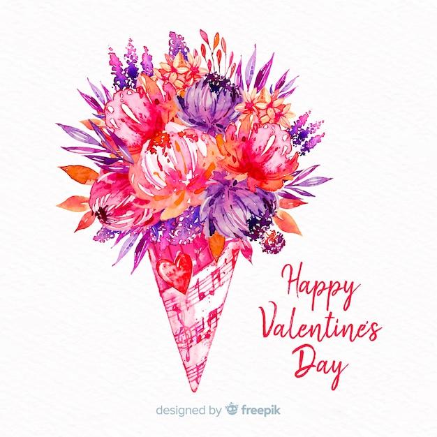 Fond de bouquet aquarelle valentine Vecteur gratuit