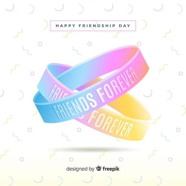 Fond de bracelets de jour de l'amitié réaliste Vecteur gratuit