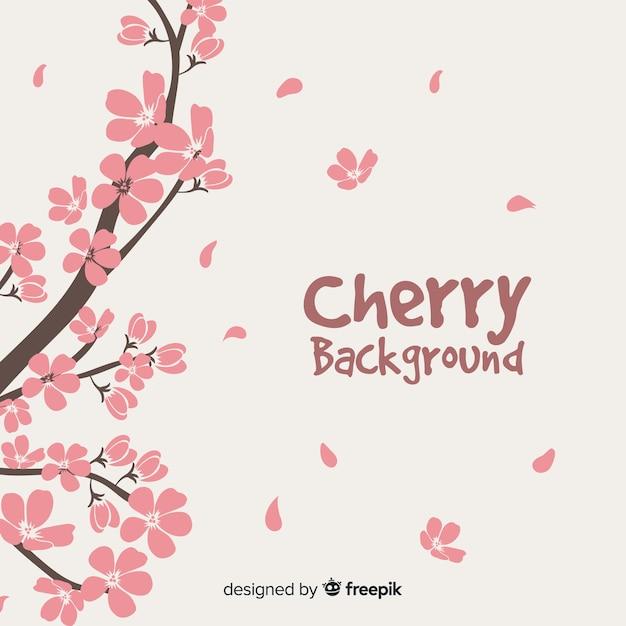 Fond De Branche De Fleurs De Cerisier Dessinés à La Main Vecteur gratuit