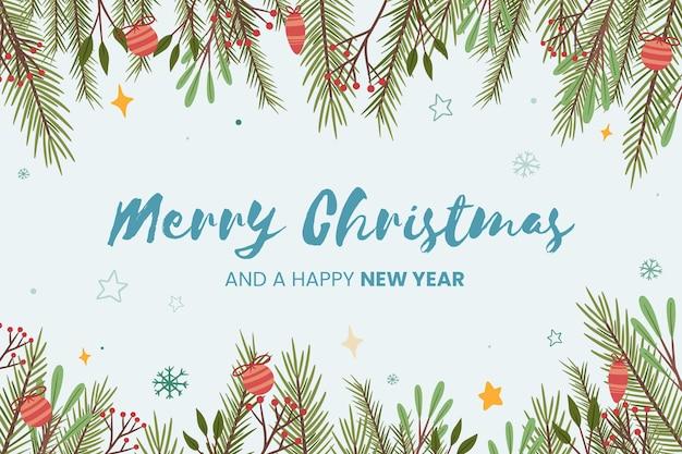 Fond De Branches D'arbre De Noël Dessiné à La Main Vecteur gratuit