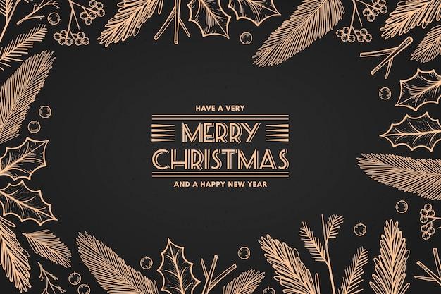 Fond De Branches D'arbre De Noël Vintage Vecteur gratuit