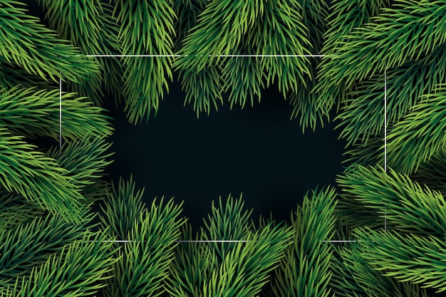 Fond de branches d'arbres de noël design plat Vecteur gratuit