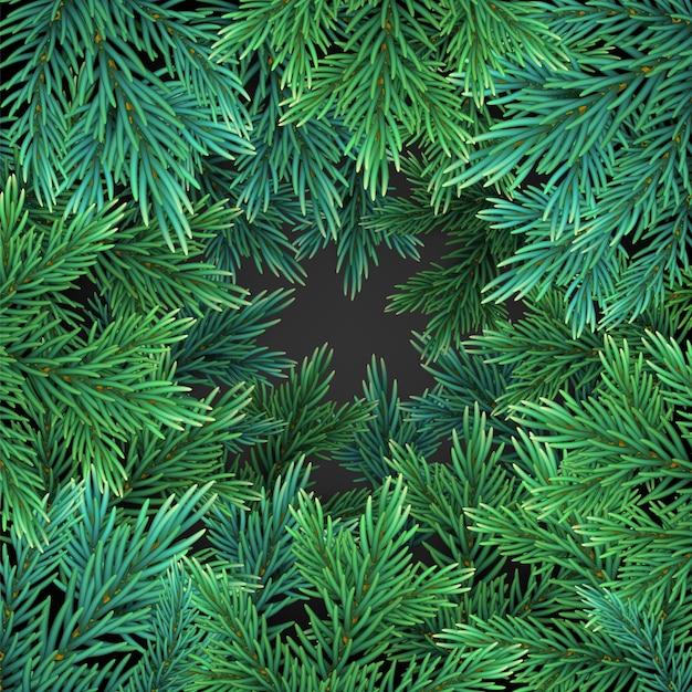 Fond Avec Des Branches D'arbres De Noël Réalistes Verts Pour Carte De Voeux Vecteur Premium