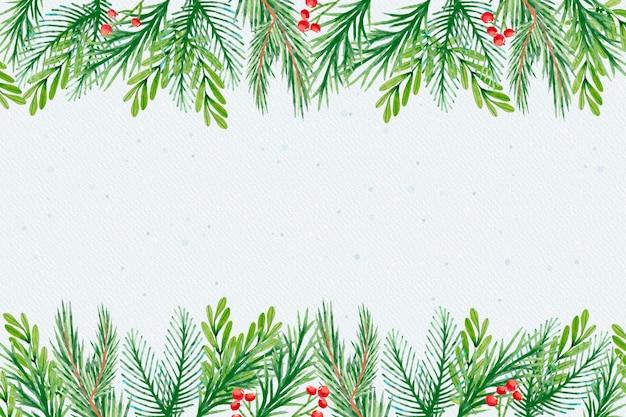 Fond De Branches De Sapin De Noël Aquarelle Vecteur gratuit