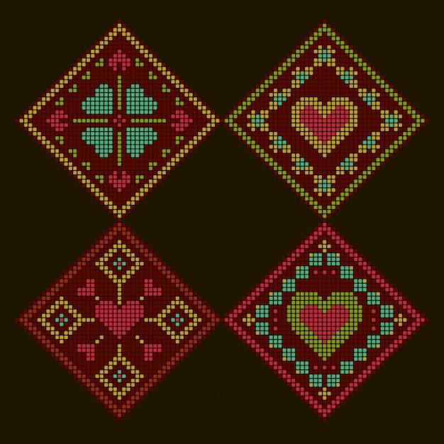 Fond brodé coloré romantique de style ethnique. motif de point de croix losange. Vecteur Premium