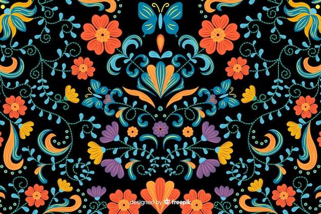 Fond de broderie florale mexicaine Vecteur gratuit
