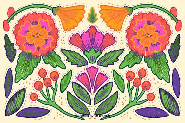 Fond de broderie florale Vecteur gratuit
