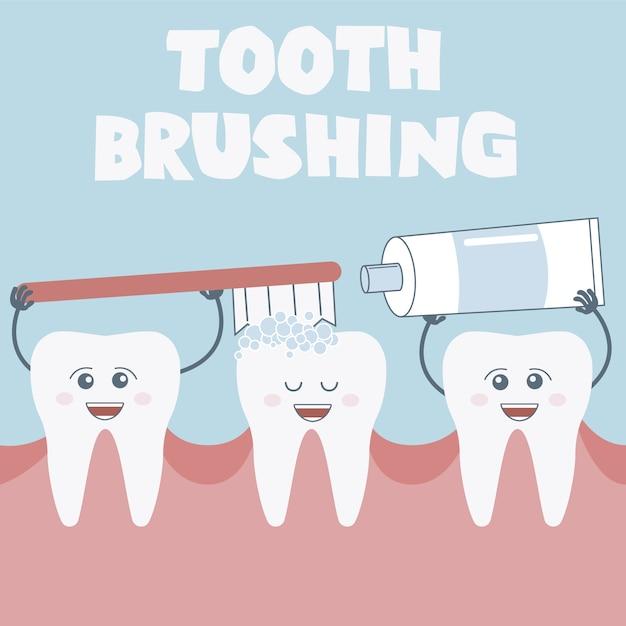 Fond de brossage des dents Vecteur gratuit