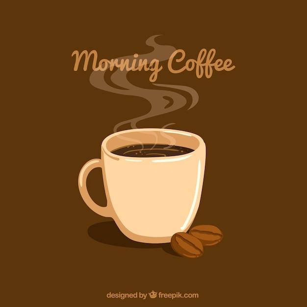 Fond brun avec tasse de caf et de grains de caf - Tasse a cafe avec support ...