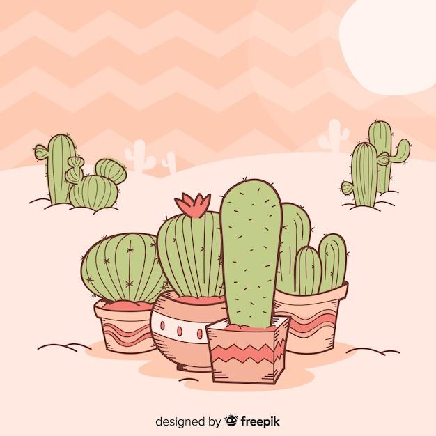 Fond de cactus dessiné à la main Vecteur gratuit