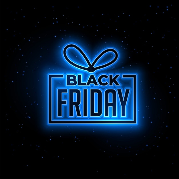 Fond de cadeau noir vendredi bleu néon Vecteur gratuit