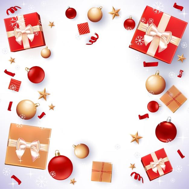 Fond de cadeaux de noël et de décorations Vecteur Premium
