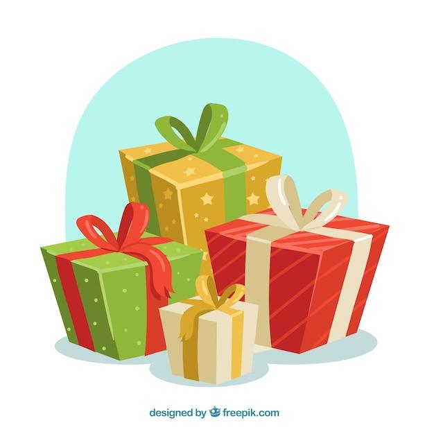 Fond De Cadeaux De Noël Vecteur gratuit