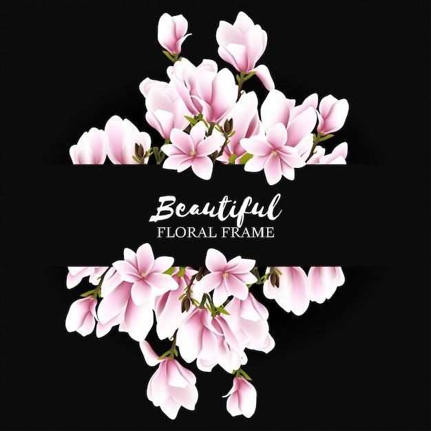 Fond De Cadre Belle Fleur De Magnolia Vecteur Premium