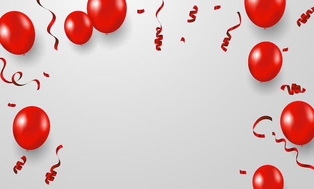 Fond de cadre de célébration avec des rubans de confettis rouges. carte de voeux riche de luxe. Vecteur Premium