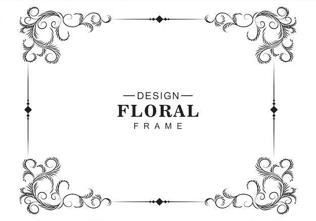Fond De Cadre Décoratif Floral Artistique Vecteur gratuit