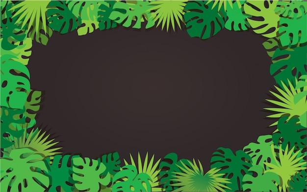 Fond de cadre de feuilles tropicales Vecteur Premium