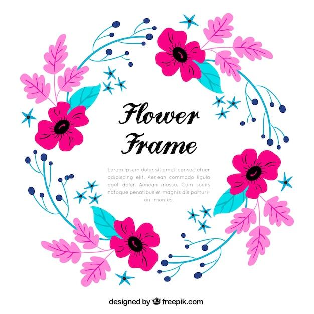 Fond De Cadre Fleur Multicolore Vecteur gratuit