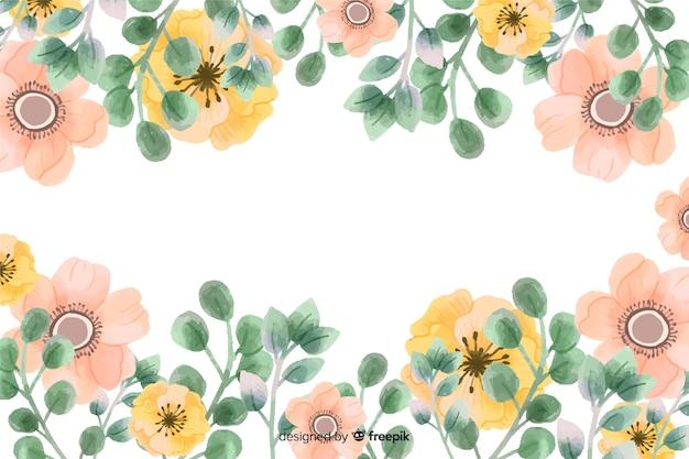 Fond de cadre de fleurs avec dessin aquarelle Vecteur gratuit