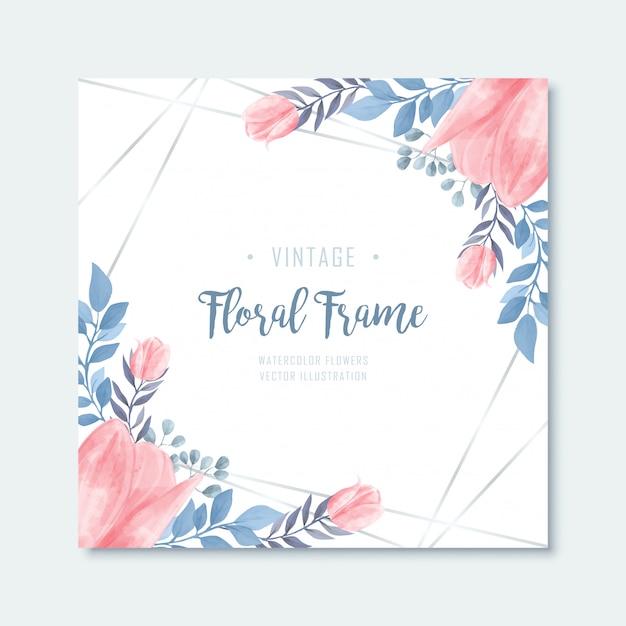 Fond de cadre de fleurs florales aquarelle rose bleu Vecteur Premium