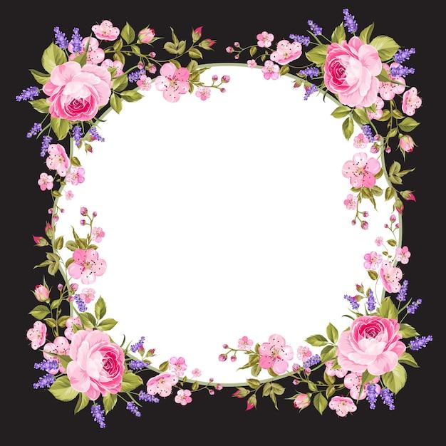 Fond de cadre de fleurs de printemps. Vecteur Premium