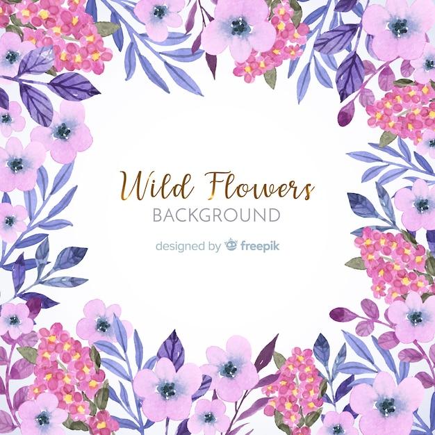Fond de cadre floral aquarelle rose Vecteur gratuit