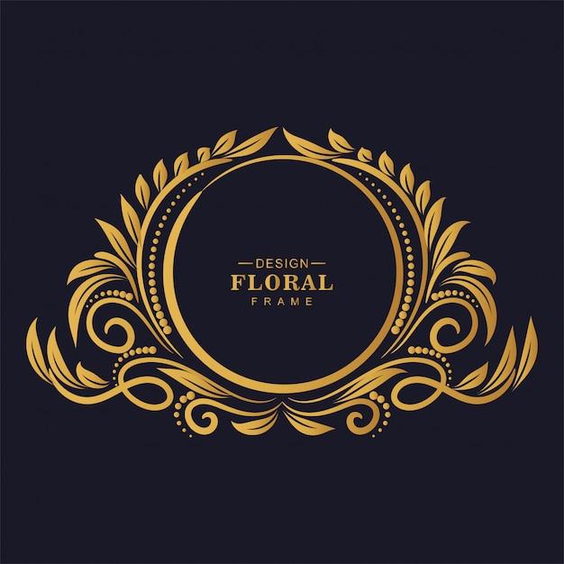 Fond De Cadre Floral Décoratif Doré Ornemental Vecteur gratuit