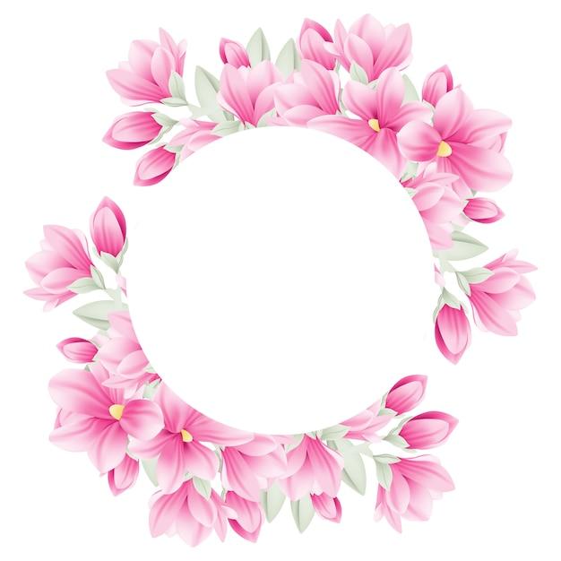 Fond de cadre floral avec des fleurs de magnolia Vecteur Premium