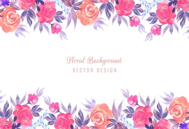 Fond De Cadre Floral De Mariage Coloré Décoratif Vecteur gratuit