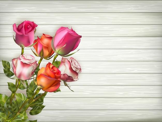 Fond De Cadre Floral Romantique. Contexte De La Saint-valentin. Roses Sur Fond En Bois. Fichier Inclus Vecteur Premium