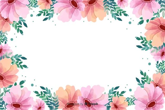 Fond De Cadre Floral Rose Aquarelle Vecteur gratuit