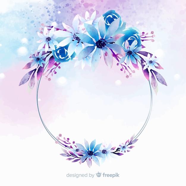 Fond de cadre géométrique floral aquarelle Vecteur gratuit