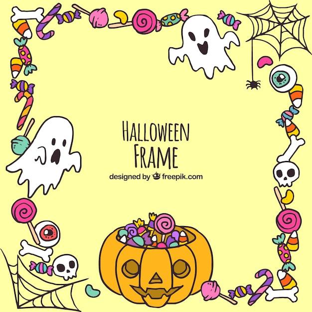 Fond de cadre de halloween avec des éléments dessinés à la main Vecteur gratuit