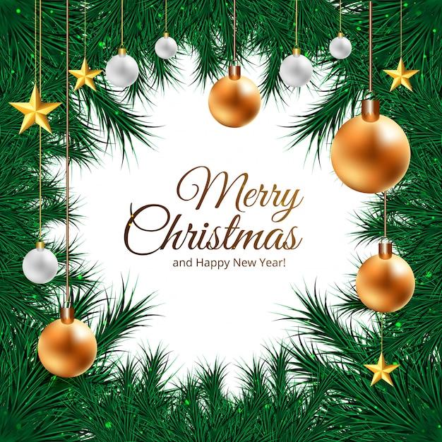 Fond De Cadre De Noël Pour Des Boules 3d Réalistes Sur Des Branches De Sapin Vecteur gratuit