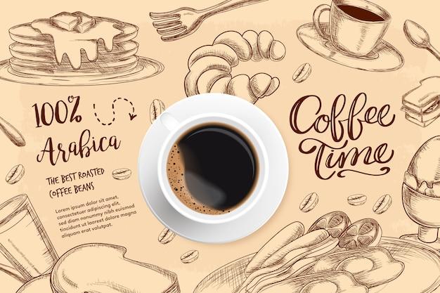 Fond de café réaliste avec des dessins Vecteur gratuit