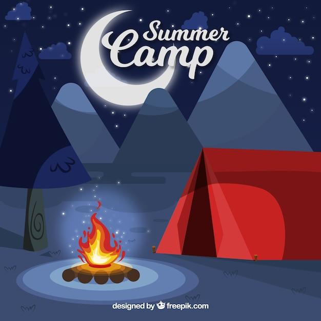 Fond de camp d'été dans le style 2d Vecteur gratuit