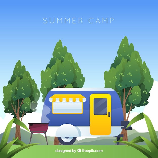 Fond de camp d'été en design plat Vecteur gratuit