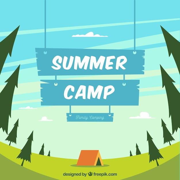 Fond de camp d'été avec panneau en bois bleu Vecteur gratuit