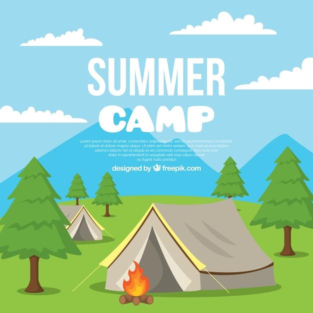 Fond de camp d'été avec des tentes et un feu de camp Vecteur gratuit