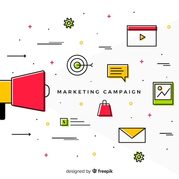 Fond de campagne de marketing linéaire Vecteur gratuit