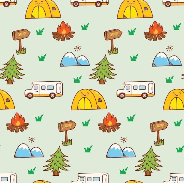 Fond de camping kawaii doodle Vecteur Premium