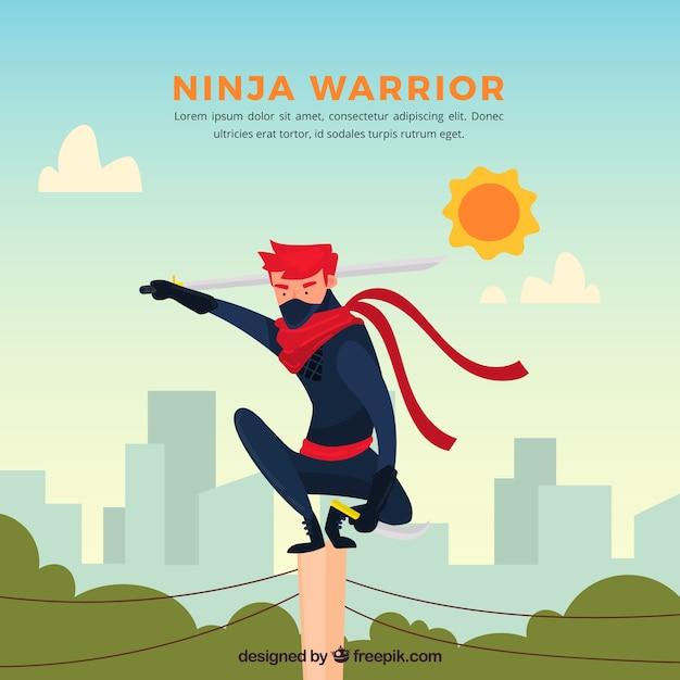 Fond de caractère ninja avec un design plat Vecteur gratuit